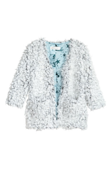 Faux fur cardigan - Light grey -  | H&M