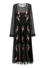 Embroidered mesh dress - Black/Floral - Ladies | H&M CN 2