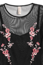Embroidered mesh dress - Black/Floral - Ladies | H&M CN 3