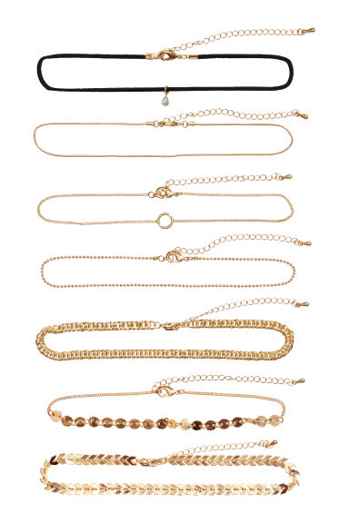 Set van 7 chokers - Goudkleurig -  | H&M BE