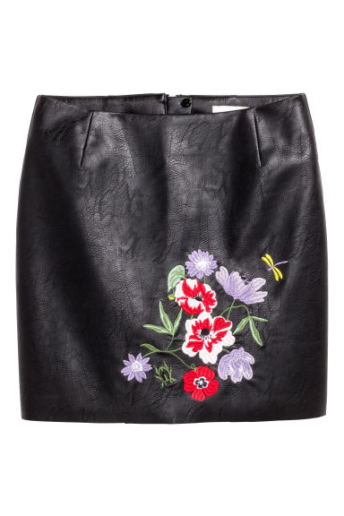 Skirt with embroidery - Black -  | H&M