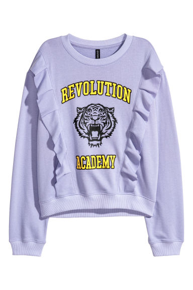 Sweatshirt with flounces - Light purple - Ladies | H&M 1