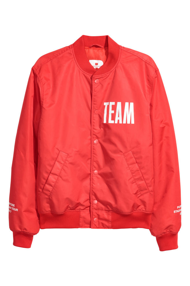 Bomber jacket with a motif bright red men hm gb bomber jacket with a motif bright red men hm gumiabroncs Image collections