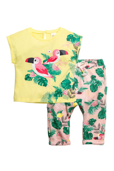 Top and trousers - Light yellow/Birds - Kids | H&M 1