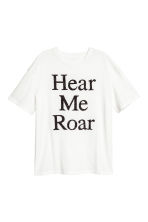 Beaded top - White/Hear me roar - Ladies | H&M IE 2