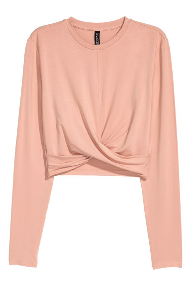 Short jersey top - Powder beige -  | H&M