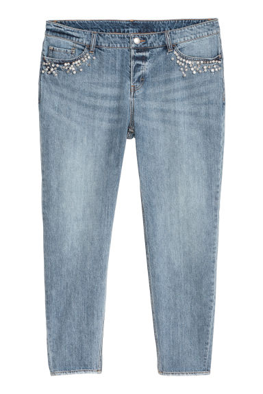 H&M+ Boyfriend Low Jeans - 牛仔蓝/珠饰 - Ladies | H&M CN