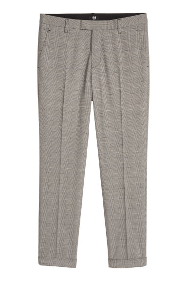 Pantaloni da completo Slim fit - Grigio/nero quadri - UOMO | H&M IT
