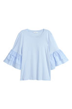 Top with flounced sleeves - Light blue - Ladies | H&M 2