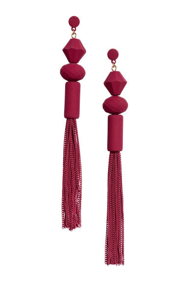 Long earrings - Dark red - Ladies | H&M 1