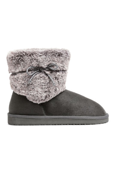 Boots with faux fur - Dark grey -  | H&M CN