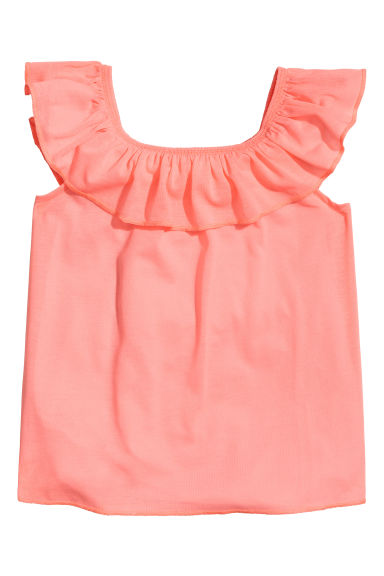 Flounced jersey top - Coral pink - Kids | H&M 1