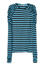 Long-sleeved jersey top - Black/Blue striped - Ladies | H&M CN 2