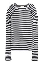 Long-sleeved jersey top - White/Black striped - Ladies | H&M 2