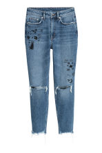 Mom Jeans Trashed - Denim blue/Stars - Ladies | H&M IE 2