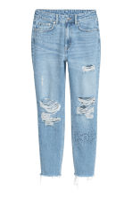 Mom Jeans Trashed - Licht denimblauw/stras - DAMES | H&M BE 3