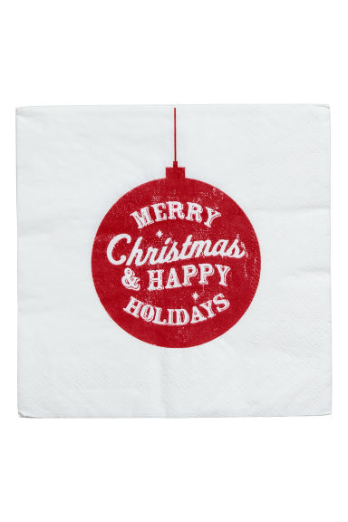 Paper napkins - White/Christmas tree baubles - Home All | H&M CN 1