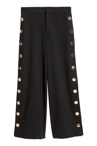 Wide trousers with buttons - Black - Ladies | H&M 1