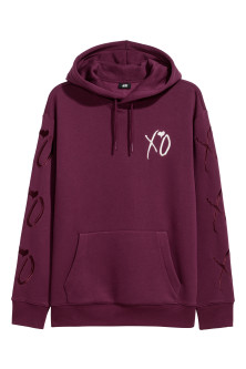Hooded top with embroidery