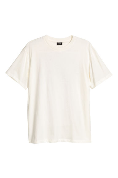 Wide T-shirt - Natural white/XO - Men | H&M IE
