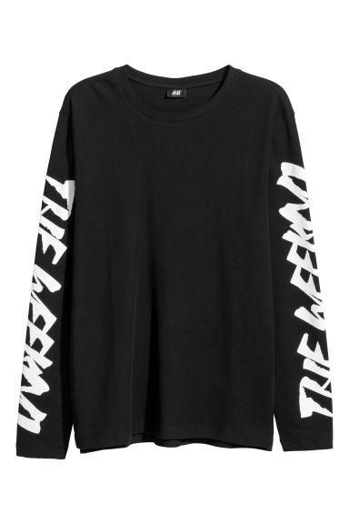 Long-sleeved piqué top - Black/The Weeknd - Men | H&M