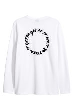 Long-sleeved piqué top - White/The Weeknd - Men | H&M CN 3