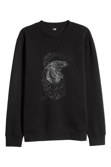 Sweatshirt with embroidery - Black/XO - Men | H&M