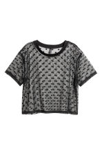 Top corto in tulle - Nero/pois - DONNA | H&M IT 2