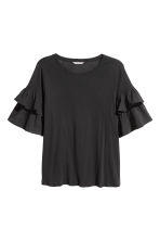 H&M+ Jersey flounce-sleeve top - Black - Ladies | H&M 2