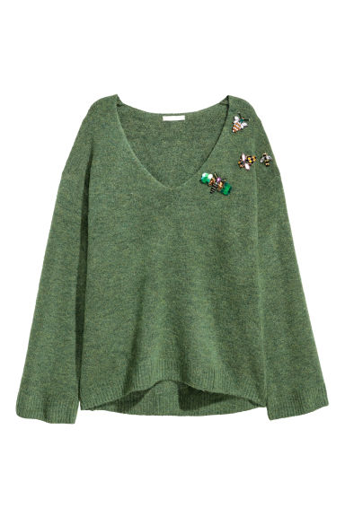 Jumper with appliqués - Green - Ladies | H&M CN
