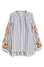 Cotton blouse - Grey/White striped - Ladies | H&M IE 1