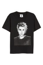 T-shirt with a print motif - Black/Justin Bieber - Men | H&M CN 1