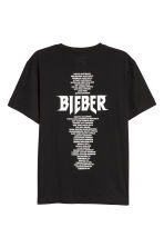 T-shirt with a print motif - Black/Justin Bieber - Men | H&M CN 2