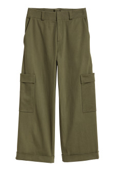 Wide twill trousers