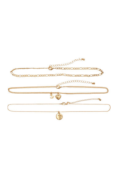 3-pack chokers - Gold-colored - Ladies | H&M