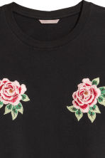 H&M+ T-shirt with appliqués - Black/Floral - Ladies | H&M 2