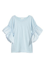 T-shirt with frilled sleeves - Light blue - Ladies | H&M 2