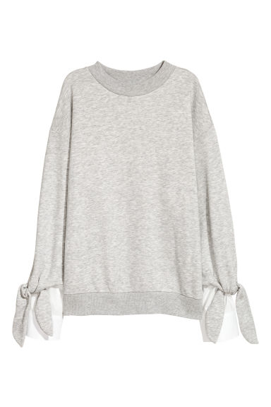 Sweatshirt with a ties - Light grey marl -  | H&M