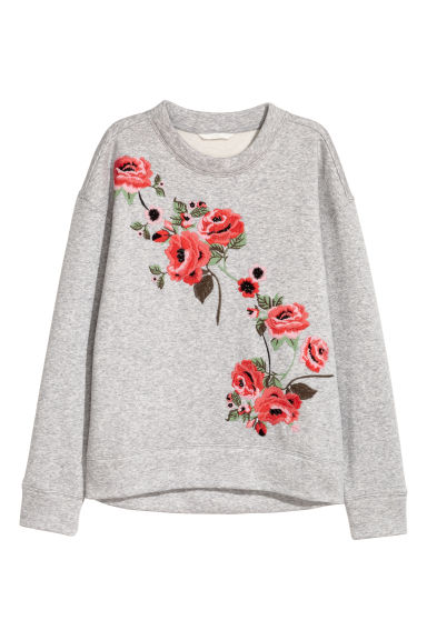 Sweat avec broderies - Gris clair chiné -  | H&M FR