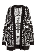 Jacquard-knit cardigan - Black/White - Ladies | H&M 2