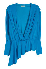 Asymmetric wrapover top - Bright blue - Ladies | H&M CN 2