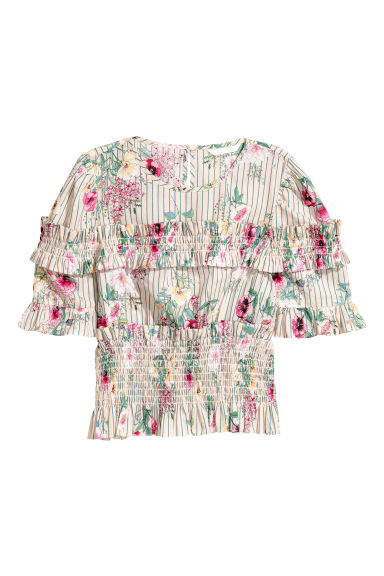 Frilled cotton blouse - Light beige/Floral - Ladies | H&M