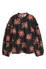 Cotton balloon-sleeved blouse - Black/Floral - Ladies | H&M 2