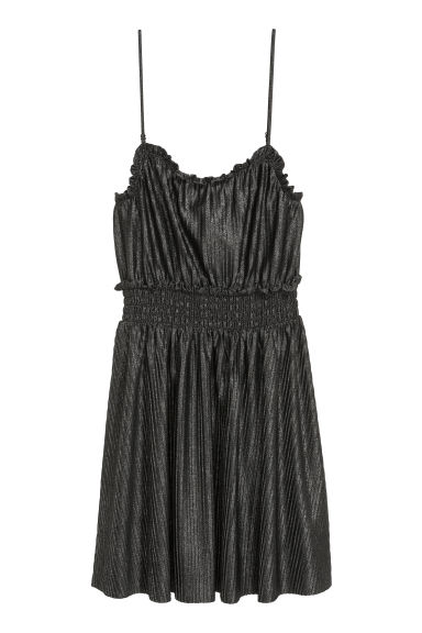 Pleated dress - Black/Glittery - Ladies | H&M GB