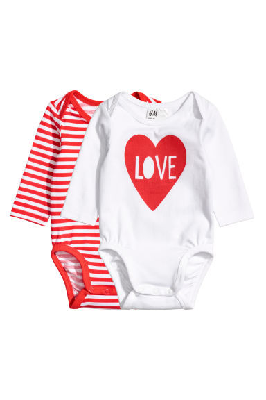 2-pack long-sleeved bodysuits - White/Love - Kids | H&M 1