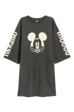 Printed T-shirt dress - Dark grey/Mickey Mouse -  | H&M CN 1