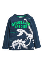 Printed jersey top - Dark blue/Dinosaurs -  | H&M 1