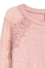 Fine-knit jumper with lace - Powder pink/Marled - Ladies | H&M 2