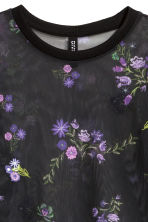 Short mesh top - Black/Floral - Ladies | H&M 2
