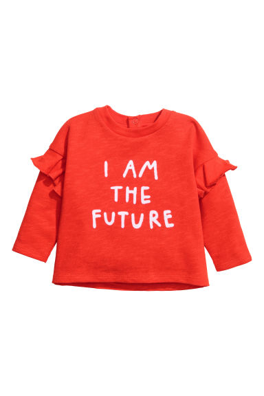 Flock-print sweatshirt - Bright red -  | H&M 1